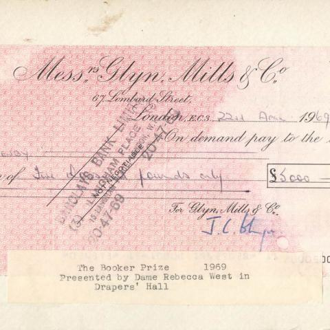 A cheque for first ever Booker winner P. H. Newby