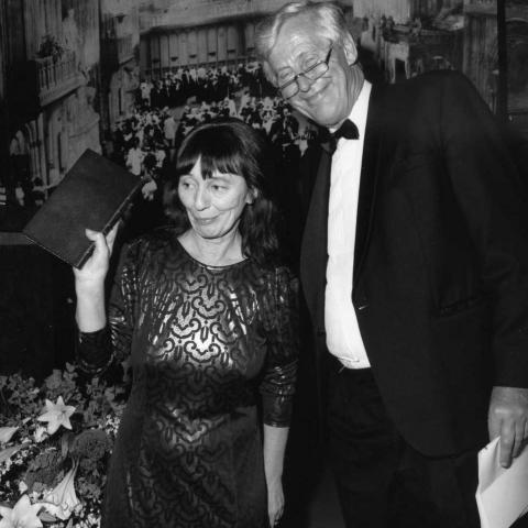 Beryl Bainbridge and Sir Michael H Caine (c) Monitor Photography 1990