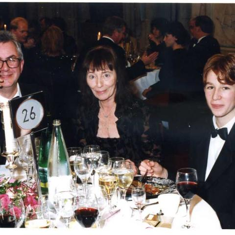 Beryl Bainbridge with her publisher and godson (c) Susan Greenhill 1998