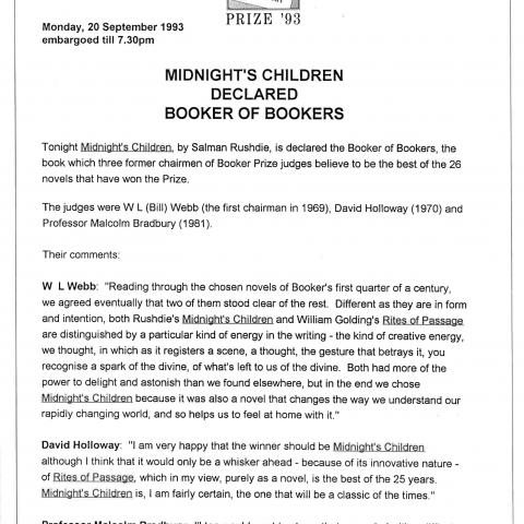 1993 press release - Booker of Bookers
